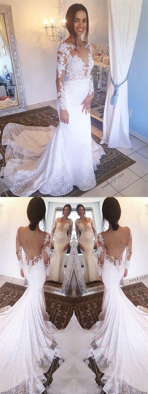 Mermaid Bateau Long Sleeves Backless White Lace Wedding Dress BD1629