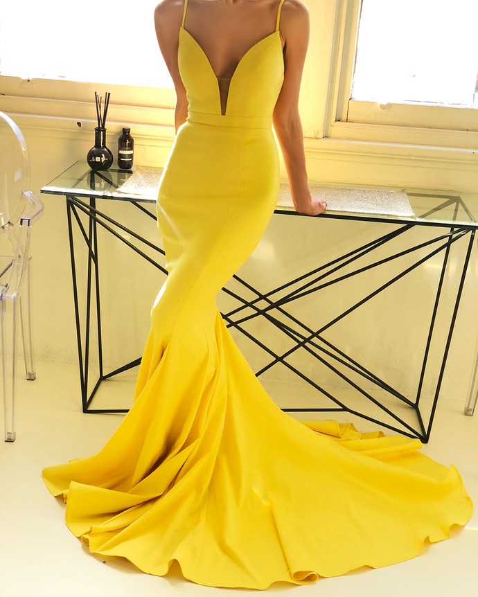 Sexy Yellow Mermaid Prom Dress V-Neck Evening Formal Gowns H4820