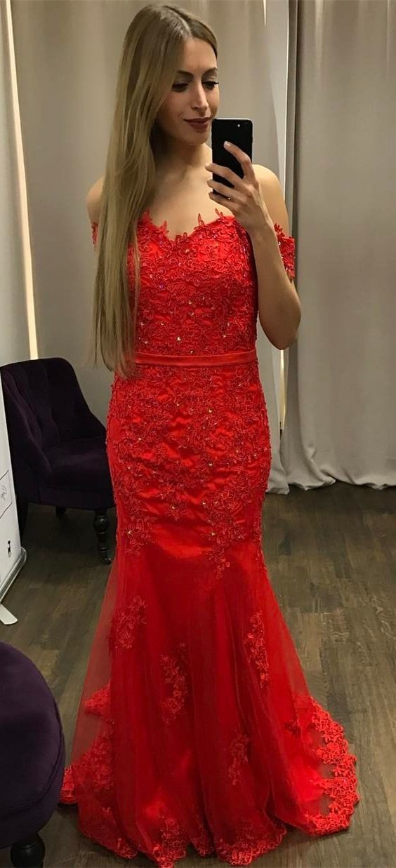 Mermaid Off-the-Shoulder ,Sweep Train, Red Prom Dress with Appliques