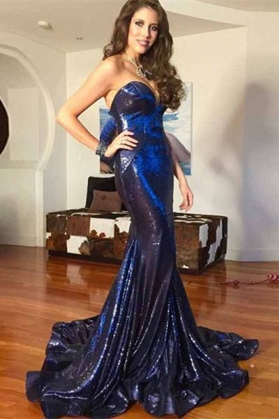 Mermaid Sweetheart ,Sweep Train, Royal Blue Sequin Prom Dress