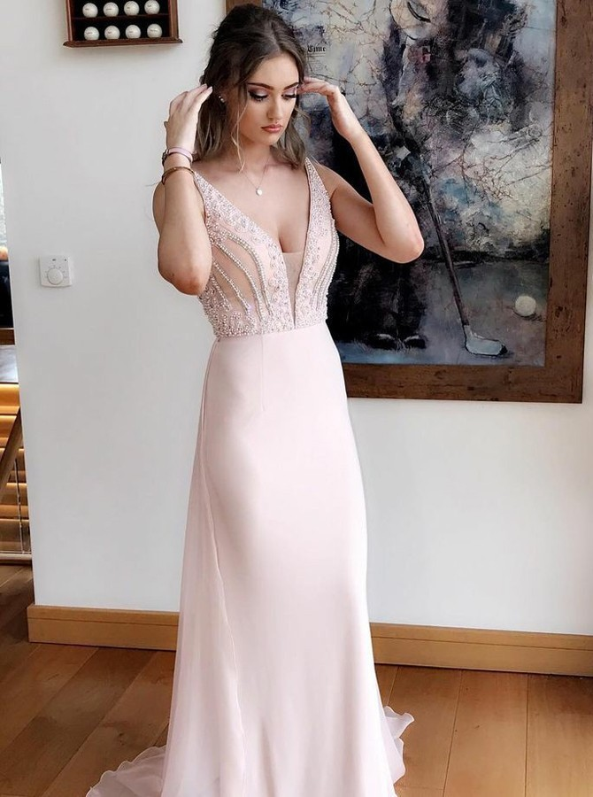 16c07d4cd87 Gorgeous A-Line Prom Dresses V-Neck Sweep Train Evening Dress Pearl Pink
