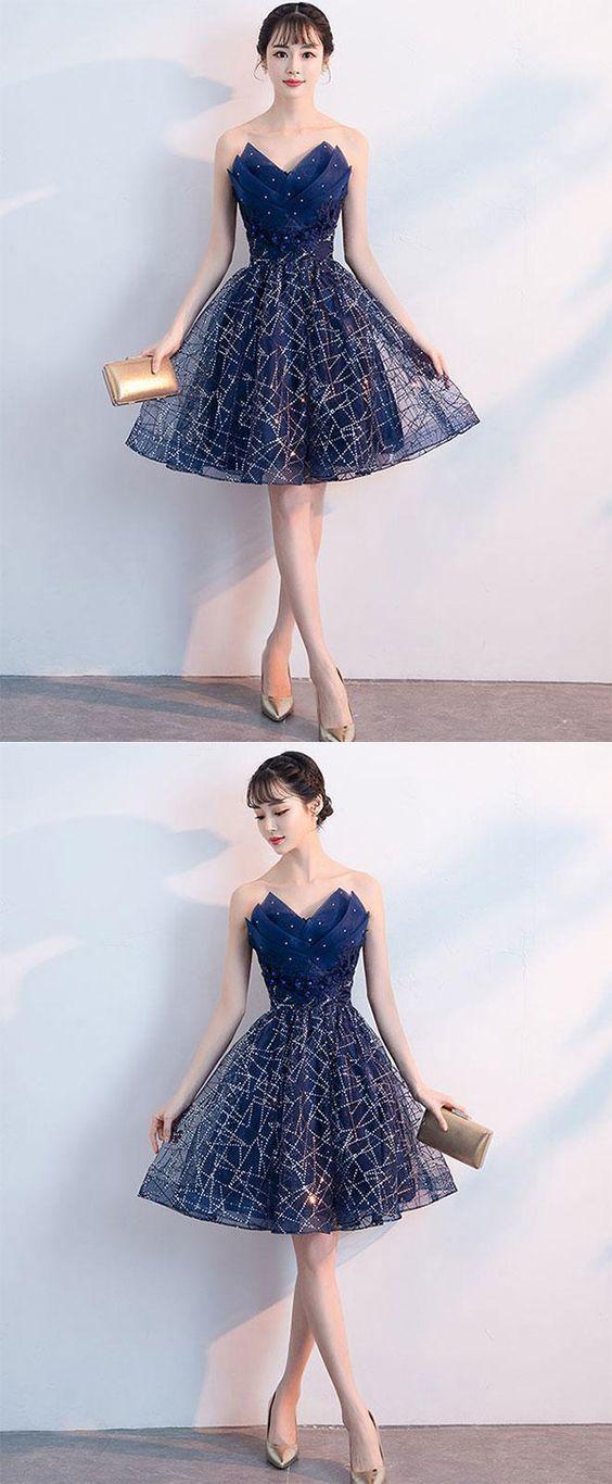 fa445d3a19f7 Dark blue v neck tulle sequin short prom dress, blue homecoming dress