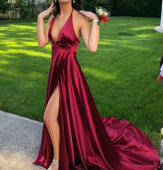 Simple Burgundy Evening Dress 2019 Sexy Deep V neck Formal Gowns with Slit  Long