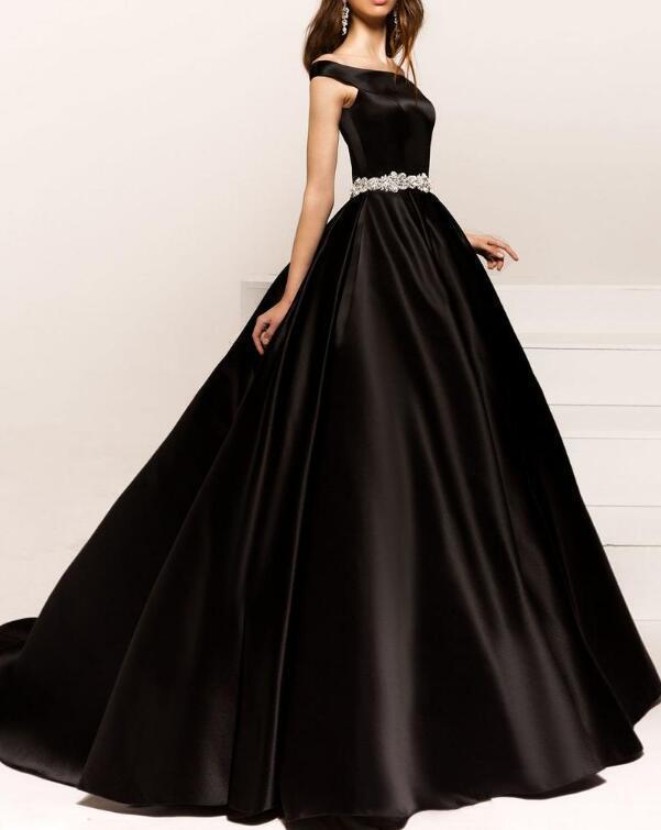 Excellent Satin Off-the-shoulder neckline A-line Evening Dresses With Beaded