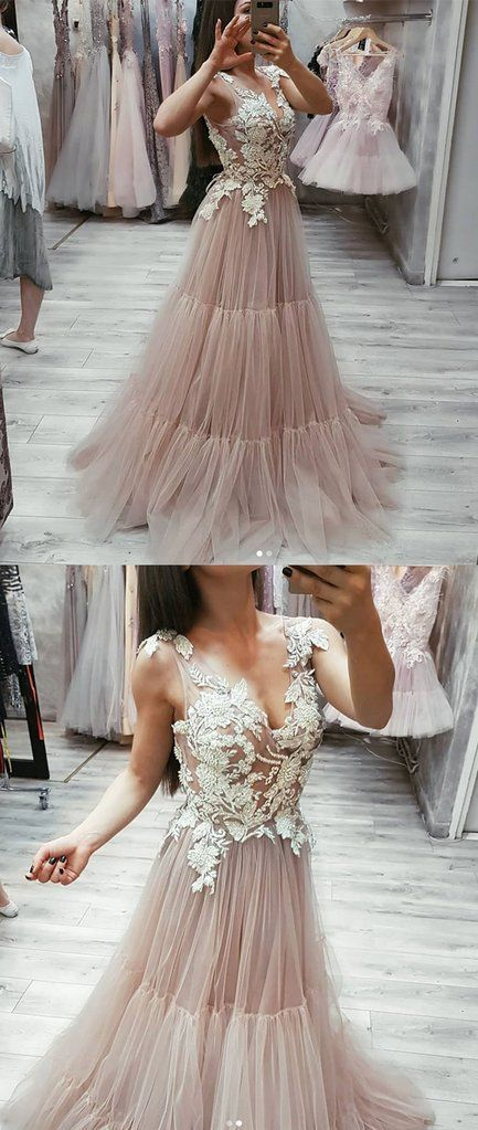 V Neck Tulle Lace Long Prom Dress,Evening Dress BD1643