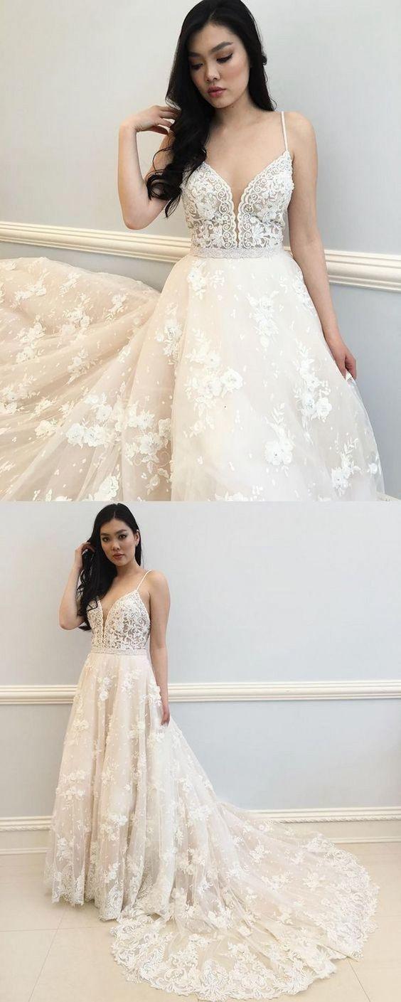 Lace Appliques Tulle Spaghetti Straps Wedding Dresses