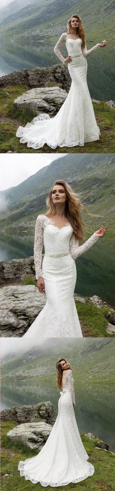 Charming Lace Mermaid Wedding Dresses, Full Sleeve Wedding Gown