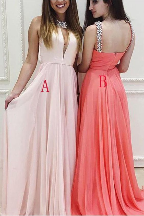 Pink A Line Floor Length Halter Sleeveless Mid Back Beading Prom Dress,Party