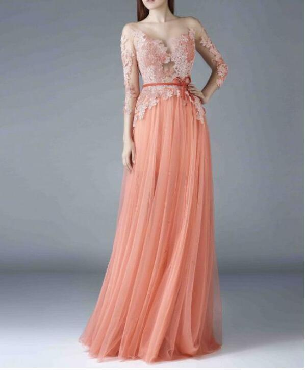 Length Sleeves A-line Prom Dress With Lace Appliques Dresses Beautiful Tulle &
