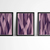 wall art abstract, Abstract Art Print ,geometric triptych violet and pink ,