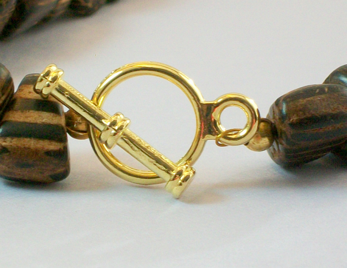 Philippine Wood Necklace w/ Peace Symbol