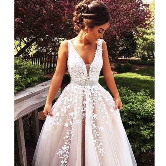 Fashion Wedding Dress, Prom Dresses, Champagne Prom Dress, Tulle and Lace Prom
