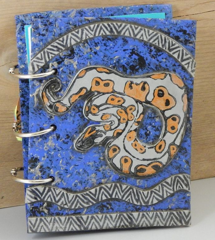Ball Python Journal - refillable blank book sketchbook scrapbook - 4x5