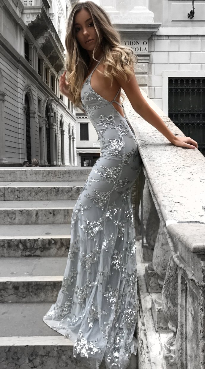 Sexy V-neck Tulle Long Mermaid Prom Dresses,Lace Party Dress,Blue Evening Dress