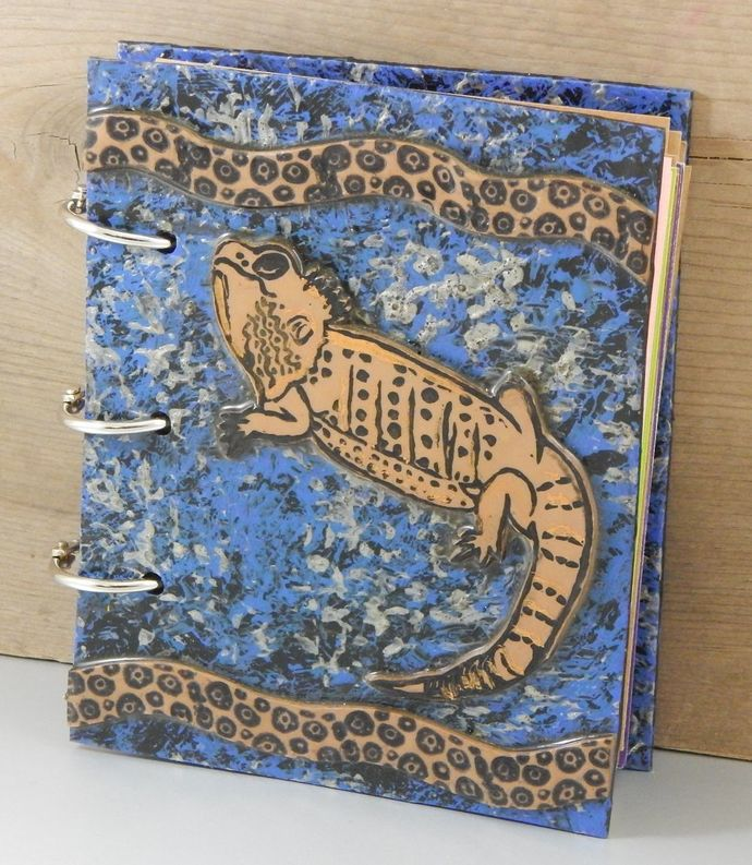 Bearded Dragon Friend Journal - refillable blank book - Beardie - 4x5