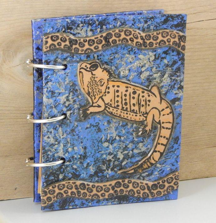 Bearded Dragon Friend Journal - refillable blank book - Beardie - 4x5