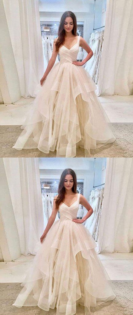 Simple light champagne tulle long prom dress, tulle evening dress