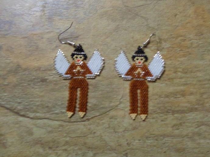 Angel Boy Earrings Hand Made Seed Beaded Bead Work