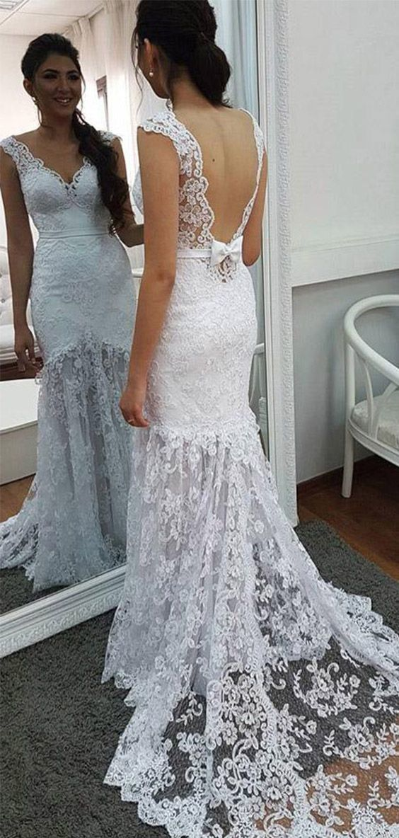 White Mermaid Court Train V Neck Sleeveless Backless Lace Wedding Dress,Perfect