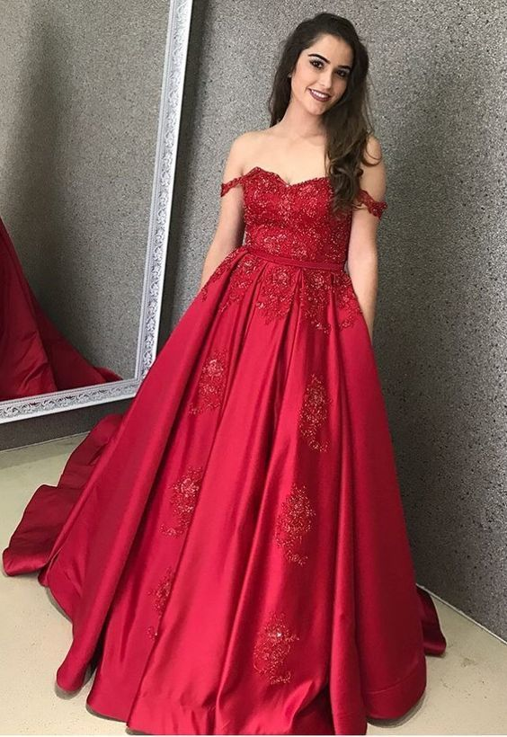 A-Line Off-the-Shoulder Detachable Train Red Satin Prom Dress with Appliques
