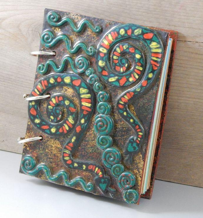 Stripey Snake Journal - refillable blank book - 4x5