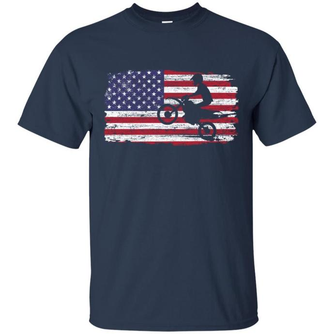 Motocross Dirt Bike With Flag Men T-shirt, American Flag T-shirt
