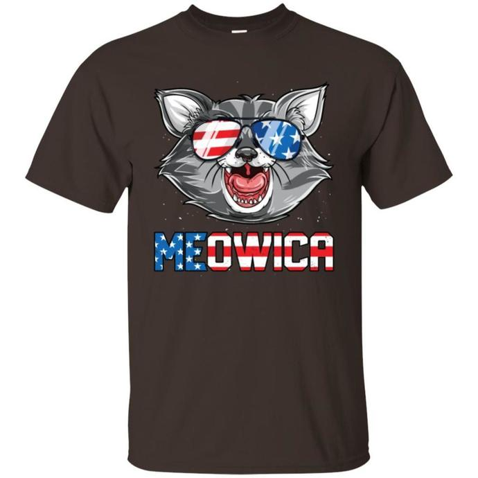 Meowica 4th of July T shirt, Merica Cat American Flag T-shirt
