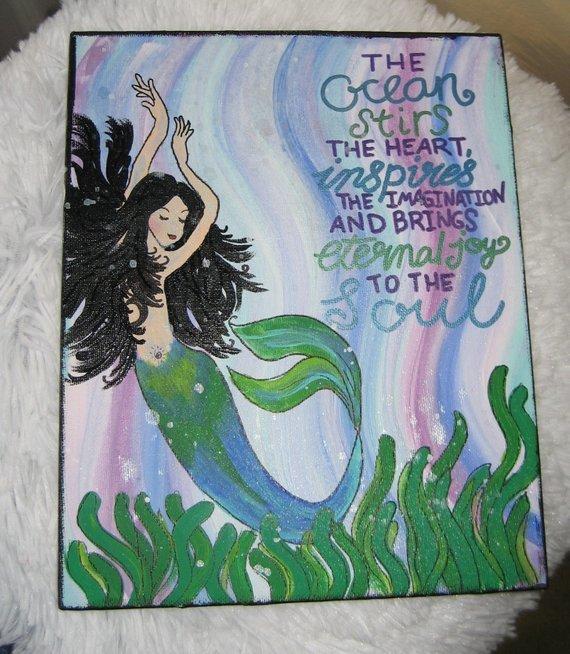 Mermaid quote painting whimsical Mermaid Art fantasy