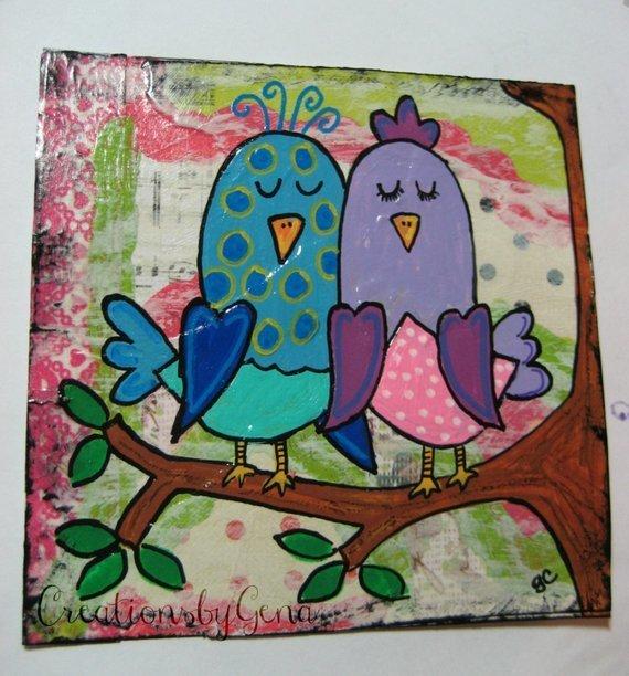 Original folk art Mixed Media whimsical love Birds for kids room decor or