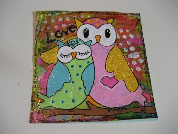 Original Mixed Media Artwork whimsical Mama and Baby Owl art for kids room decor