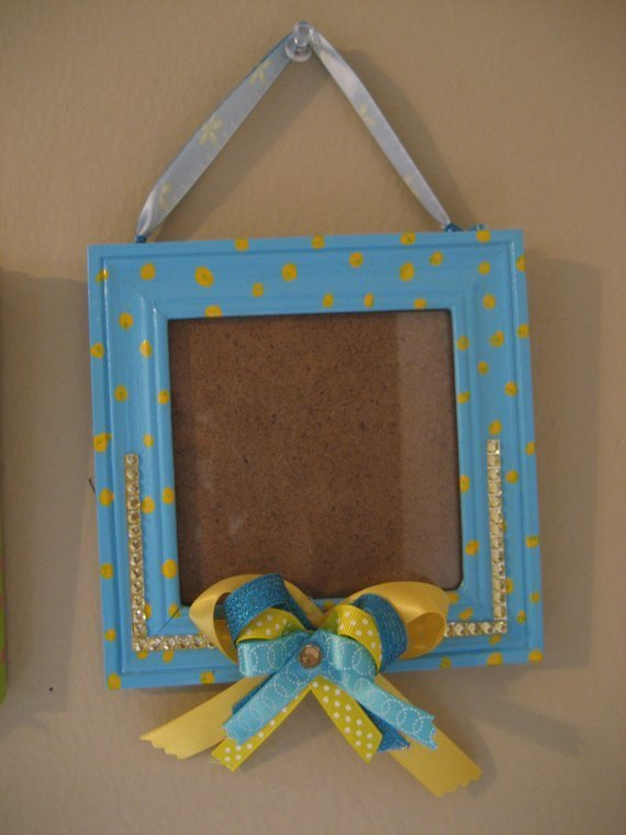 blue and yellow polka dots Hand Painted 4x4 wooden picture frame with ribbon