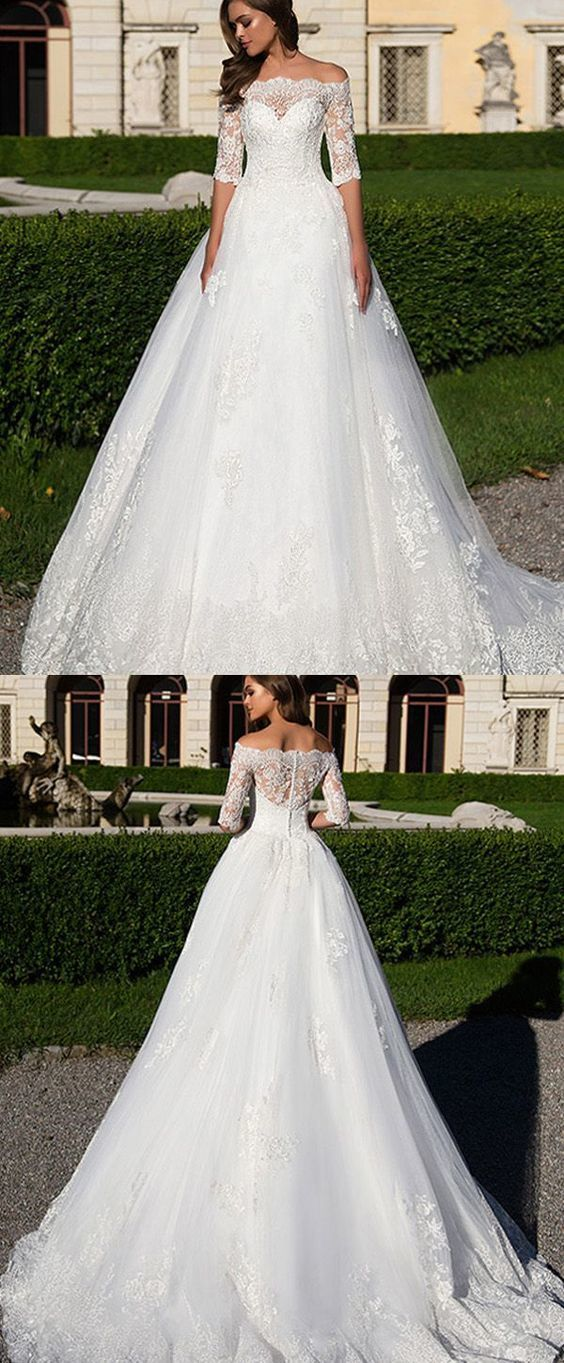 a712b9f2d4dd Best A-line Wedding Dresses : Gorgeous Tulle & Satin Off-the-shoulder