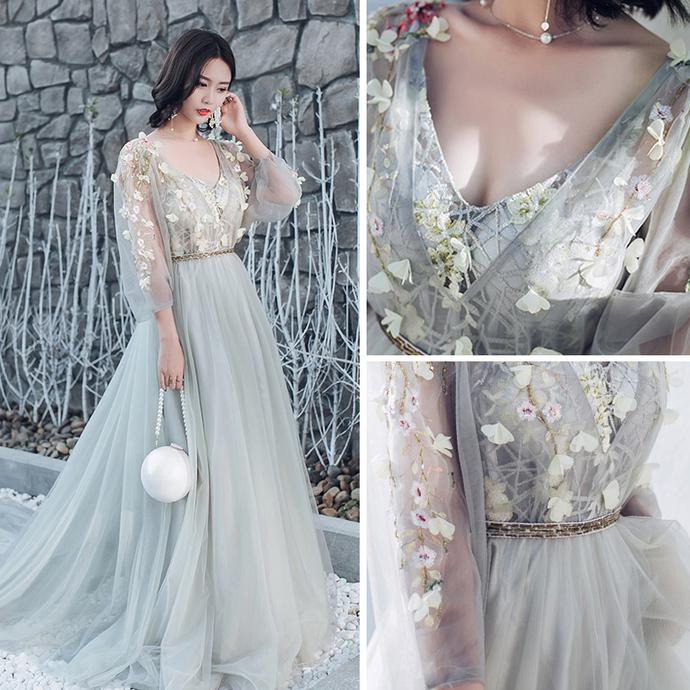 91f94e42e8f Elegant Grey Prom Dresses A-Line   Princess V-Neck Long Sleeve Appliques  Flower