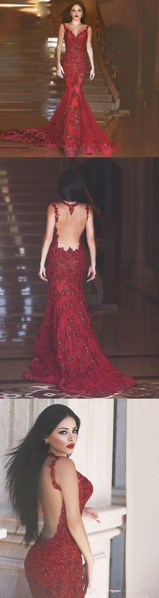 3a04409c2c Red Backless Sequin Prom Dress