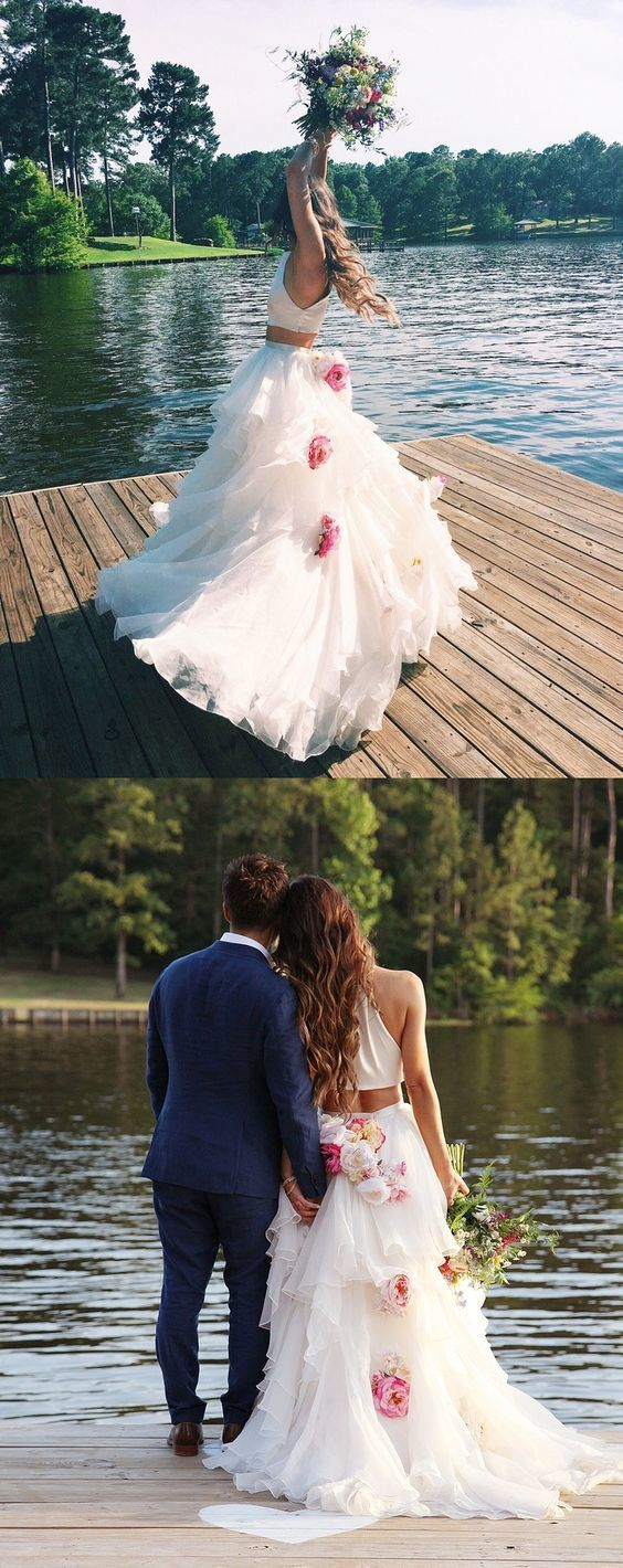 79116cee09b Two Piece A-Line Round Neck Sweep Train Tulle White Wedding Dress with  Flowers