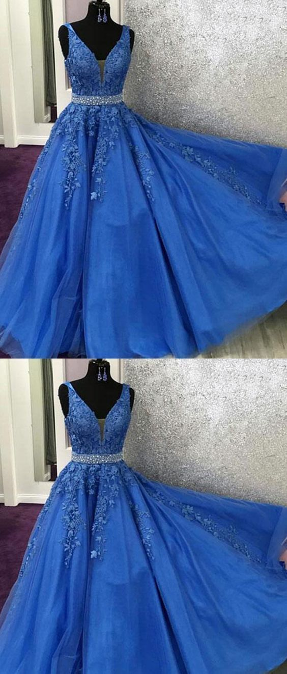 c5eaf4b92d6a V Neck Royal Blue Lace Graduation senior Prom dresses Long with Beading Belt