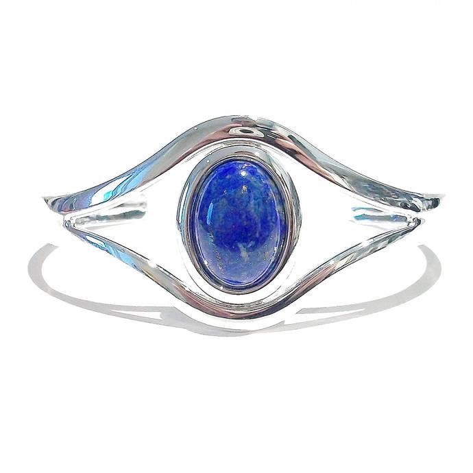Blue Lapis Lazuli Classic Gemstone Silver Plated Bangle