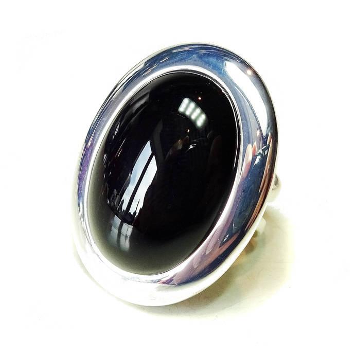 Large Black Onyx Gemstone Statement Ring - Adjustable 33 x 25mm