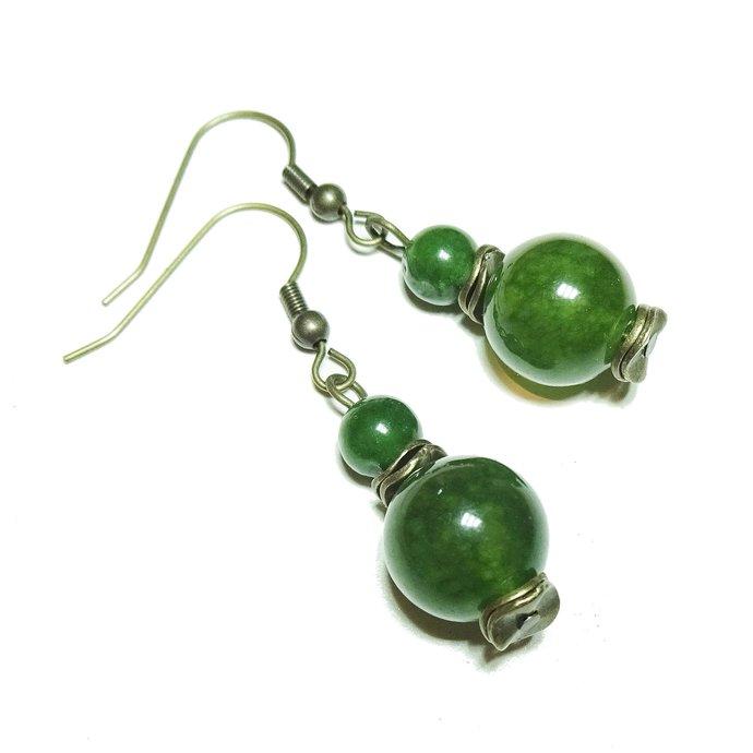 Green Taiwan Jade Gemstone & Antique Brass Earrings