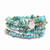 Blue Turquoise Gemstone Chip Memory Wire Wrap Cuff / Bangle