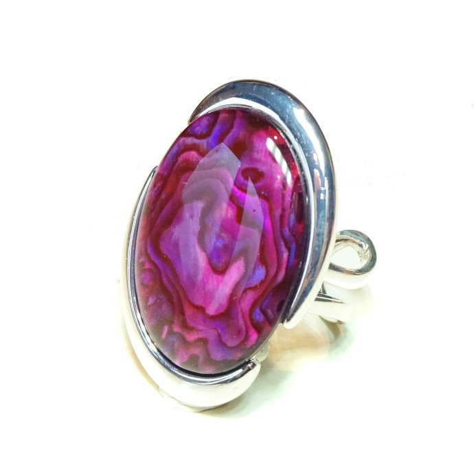 Pink Abalone Shell Large Cut Out Ring - Adjustable