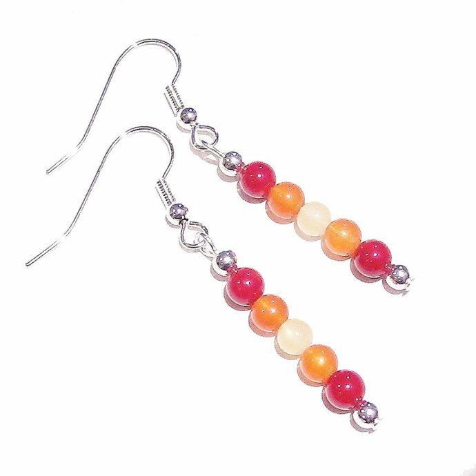Gemstone Drop Earrings w/ Coral, Orange Chalcedony & Honey Jade