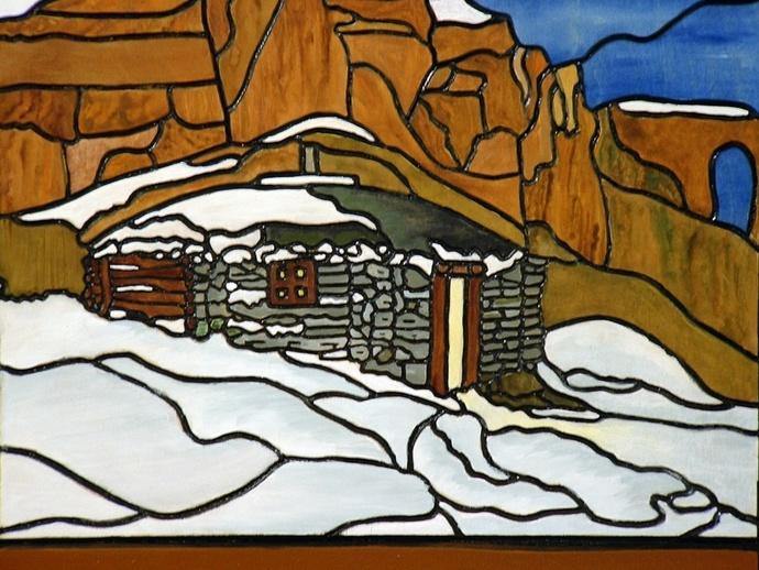 Southwest, Canyon Cabin  Wood Sculpture, Wood Wall Art
