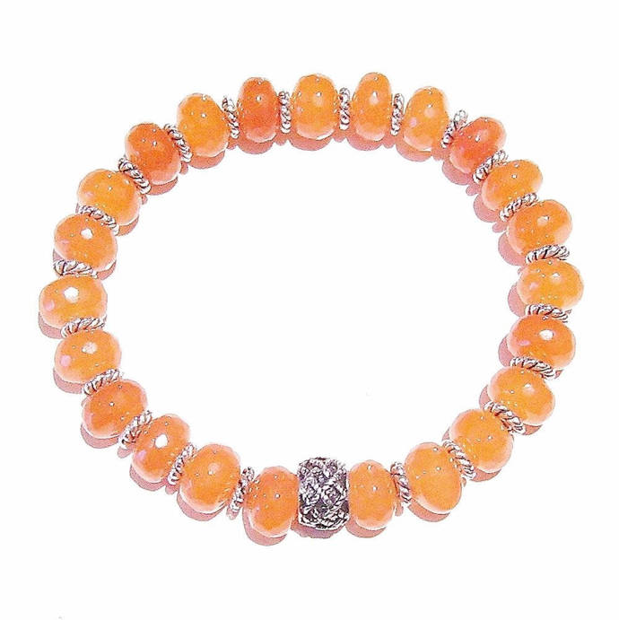 Orange Faceted Jade Gemstone Handcrafted Stretch Bracelet - Approx. 19cm