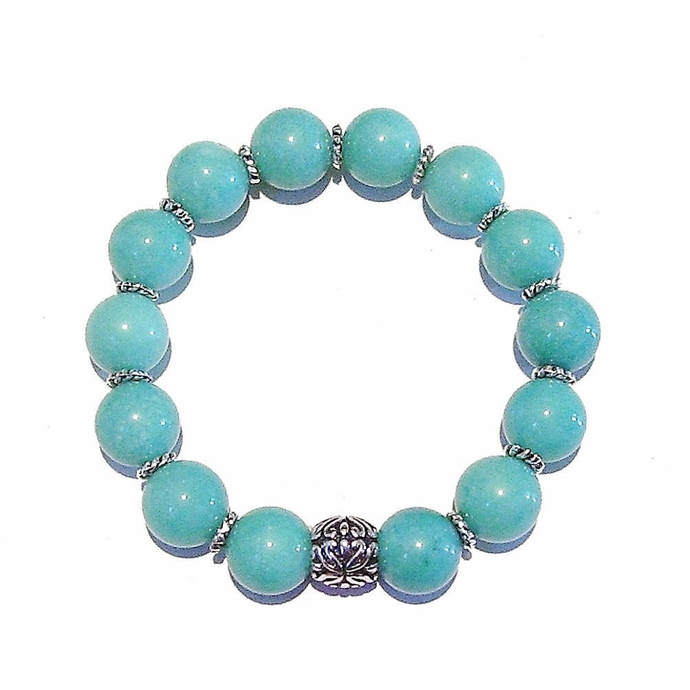 Aqua Blue Mountain Jade Gemstone & Tibetan Silver-Tone Stretch Bracelet - 19.5cm