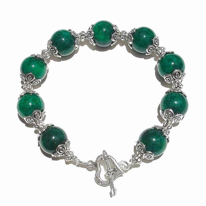 Dark Green Mountain Jade Gemstone Handcrafted Bracelet 20.5cm