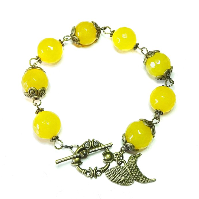 Yellow (dyed) Jade Gemstone & Vintage Brass Bracelet 21cm