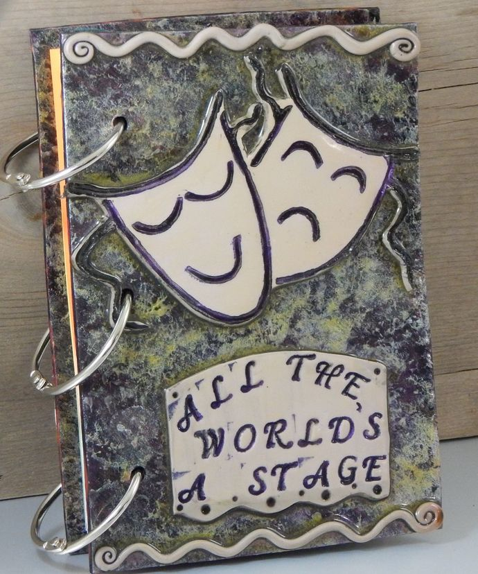 All the World's A Stage Journal - refillable blank book sketchbook scrapbook -