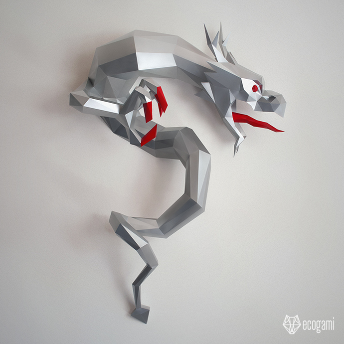 Make your own papercraft Chinese dragon   DIY wall mount   3D papercraft