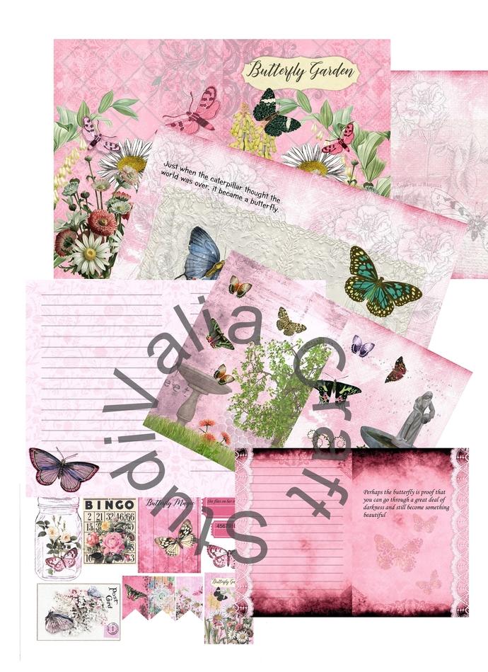 Butterfly Garden, Journal kit, Pink No. 1.  Digital Printable. instant download